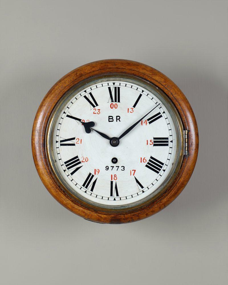 BR 9773 Mahogany 8″ railway clock.