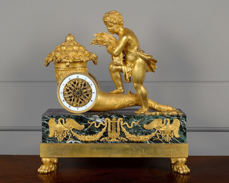 French Empire Verde Antico and Ormolu table Clock Ca 1815