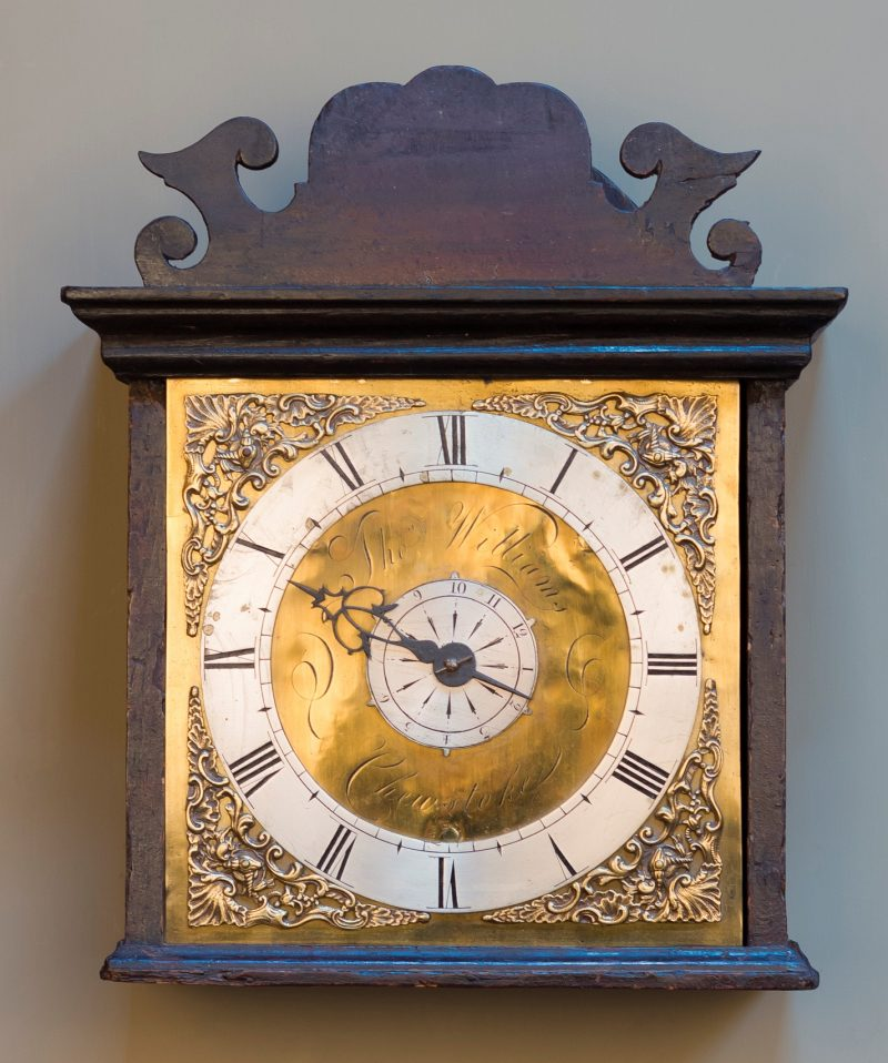 A rare George III scumbled pine hooded  wall clock Thomas Williams, Chew Stoke C1770