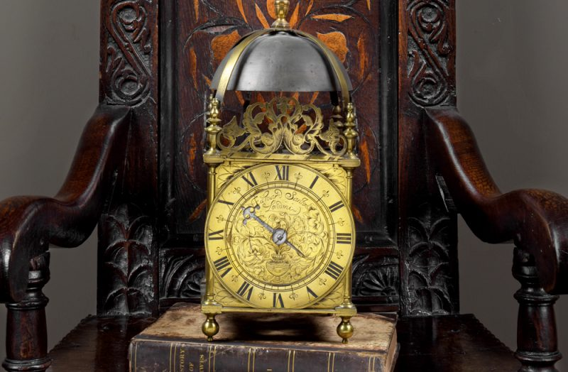 English lantern clock with a bell