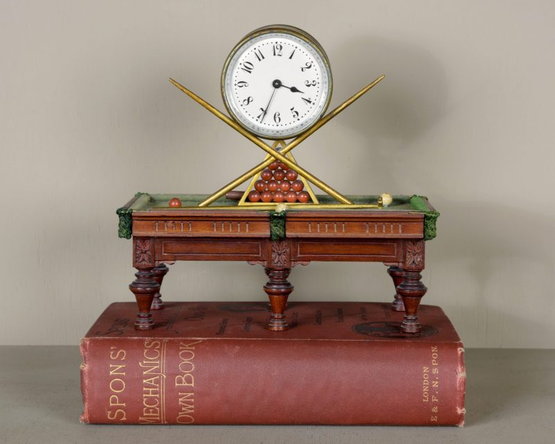 Late 19th C miniature Snooker Table clock.