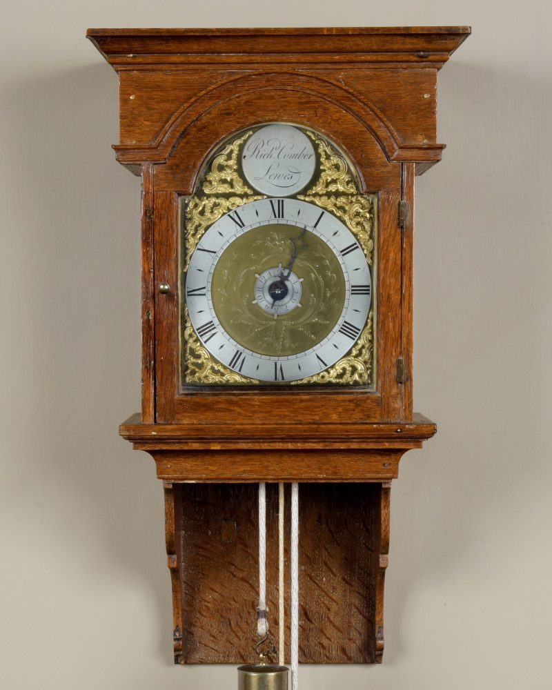 Richard Comber of Lewes, Ca 1780. Hooded wall clock.